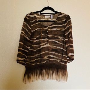Chico's Animal Print Blouse Size (1) Med/8